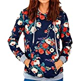 Damen Sweatshirt Xinan Rose Print lose Langarm Hoodie Pullover Mantel (XXL, Blau)