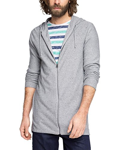 ESPRIT Herren Strickjacke 046EE2I018-mit Kapuze-Regular Fit, Grau (Light Grey 040), XX-Large (Herstellergröße: XL)