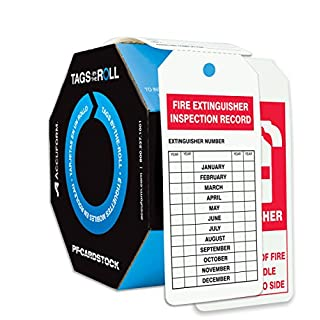 Accuform Signs TAR712 Tags By-The-Roll Fire Extinguisher Tags, Legend