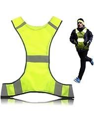Wushine réfléchissant course vélo veste marche de sécurité jaune haute visibilité en cours d'exécution Gilet de sécurité réfléchissants