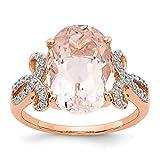 14ct Rose Gold Diamond Und JewelryWeb Damen-Ring Silber Morganit Oval