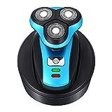 SHUYE Aufladung Elektrische Rasierer 3 Rasierklinge Rotationsrasierer mit Pop-up Trimmer IPX7 Wasserdicht Nass und Trocken für Männer LED Power-Anzeige (Universal Adapter+USB Aufladen)