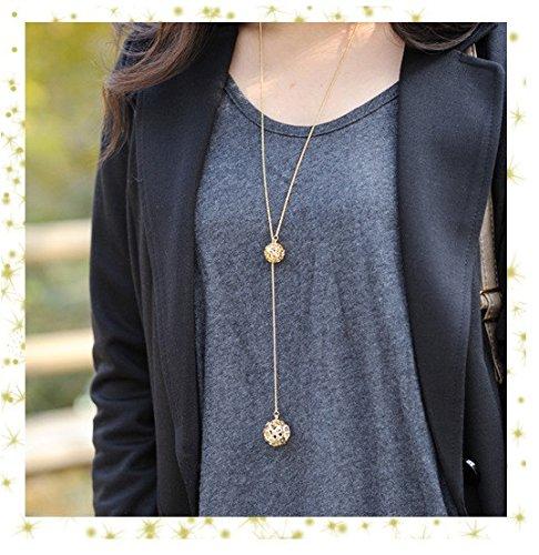 Preisvergleich Produktbild Lange Halskette Kugeln Gold Modeschmuck Kugel XXL Länge Damen Pulloverkette