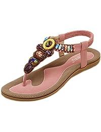 461d72d11e9 Minetom Damen Sommer Boho Rhinestones Flip Flop Schuhe Fashion Sandaletten  Zehentrenner Sandalen Strandschuhe