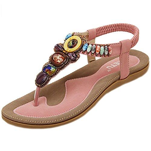 Minetom Damen Sommer Boho Rhinestones Flip Flop Schuhe Fashion Sandaletten Zehentrenner Sandalen Strandschuhe ( Aprikose EU 36 ) S7NFm