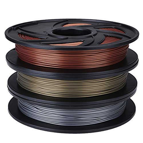 ILS – Aluminum/Bronze/Copper Color 1.75mm 0.5kg/1.1lb PLA Flexible Filament For 3D Printer RepRap