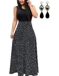 PIPIHU Sommerkleid Damen Lang mit Blüte Drucken Lang High Waist Elastische Strandkleider Maxikleider