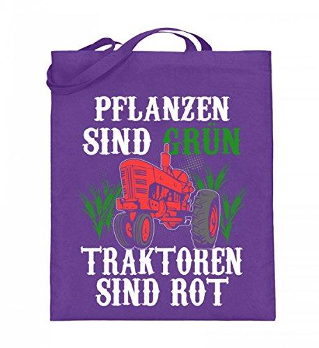 Hochwertiger Jutebeutel (mit langen Henkeln) - Landwirt Traktoren sind rot Violett