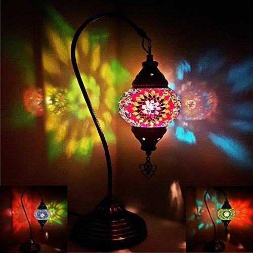 Special 3in1 Turkish Moroccan Colourful Mosaic Light Tiffany Glass Desk Table UK- MC2**