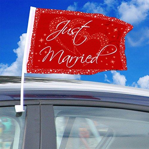 2 Auto-Flaggen * GROSSE LIEBE * für Hochzeit und Valentinstag // mit Aufschrift