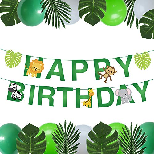 JeVenis Set von 31 Jungle Animals Alles Gute zum Geburtstag Dekorationen Jungle Theme Erster Geburtstag Dekoration Jungle Animals Luftballons Safari Party Supplies (Party Supplies Geburtstag Baby Erster)