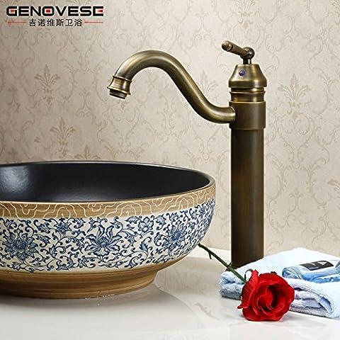 OrgsevTutti rame rubinetto antichi BasinHot e freddo continentale WashbasinFaucet altezza sollevata rubinetti
