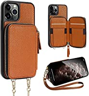 ZVE Case for iPhone 11 Pro Case, 5.8 inch, Walllet Case with Credit Card Holder Slot Crossbody Chain Handbag P