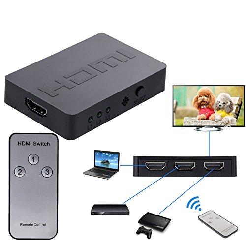 EkoBuy® Conmutador HDMI de 3puertos con mando a distancia, conmutador 3Puerto, 3d, Full HD 1080p Apoyo, cable para HDTV, PS3, PS4, XBOX ONE, 360, Bluray Player, reproductor de DVD etc