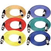 Neewer XLR macho a XLR hembra Micrófono de color- Cables Cables de goma apantallado, balanceado Cables (Verde, Azul, Púrpura, Rojo, Amarillo y Naranja), 6-Pack 6.5 ft/2 m