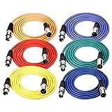 Neewer® 6er Pack 6.5FT/2M XLR-Stecker auf XLR-Buchse Farbe Mikrofonkabel Gummi versiegelte Verbindungskabel Kabel Ausgewogene Schlangen Kabel (Grün, Blau, Lila, Rot, Gelb und Orange)