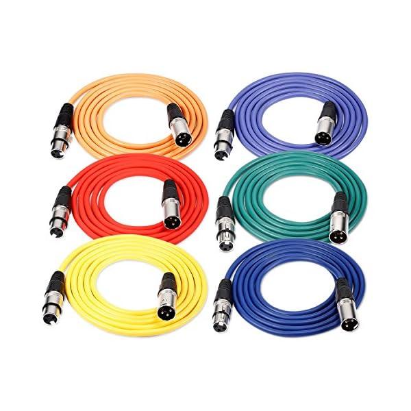 Neewer® Confezione Da 6.5ft/2m XLR maschio a XLR femmina di colore cavo microfono gomma piombo cavo di collegamento cavo bilanciato Serpenti cavo (verde, blu, viola, rosso, giallo e arancione)
