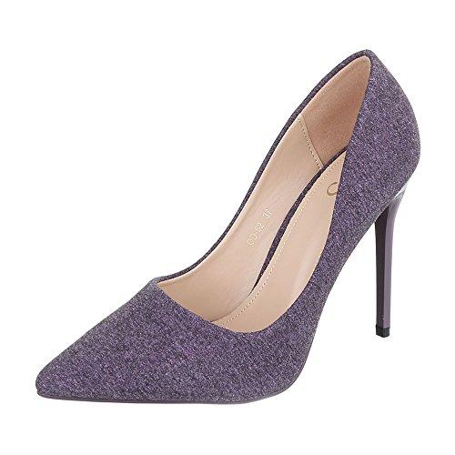 Ital-Design High Heel Damen-Schuhe Plateau Pfennig-/Stilettoabsatz High Heels Pumps Lila, Gr 40, Od-52- (Frühjahr Saison Kostüm)