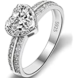 EVER FAITH® 925 Sterling Silver Love Heart Cut CZ Wedding Engagement Ring