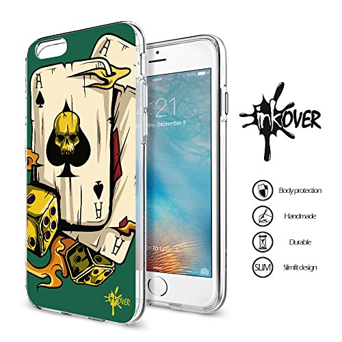 Cover iPhone 6 / 6S - INKOVER - Custodia Cover Protettiva Guscio Soft Case Bumper Trasparente Sottile Slim Fit Tpu Gel Morbida INKOVER Design JOKER Smile Cavaliere Oscuro Bat Man per APPLE iPhone 6 /  POKER 2