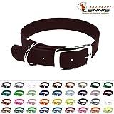 LENNIE BioThane Halsband, Dornschnalle, 13 mm breit, Größe 26-30 cm, Dunkelbraun, Aufdruck möglich