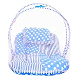 #6: Littly Star Design Cotton Bedding Set with Foldable Mattress, Mosquito Net and Pillow (Sky Blue)