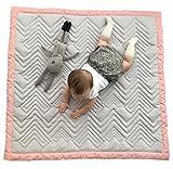 Mama Designs Gesteppte Luxus Gepolsterte Spielmatte für Babys, 100% Baumwolle, in grau mit pink. 100cm x 100cm