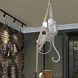 Tianliang04 Moderne Pendelleuchte Industrie Harz Hanfseil Monkey Deckenleuchte Kronleuchter