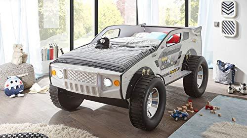 Möbel Akut Geländewagen Autobett SUV Kinderbett weiß 90x200 mit Beleuchtung (Bett Jeep)