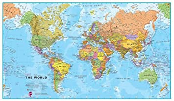 Medium world wall map political without flags laminated medium world wall map political without flags laminated amazon kitchen home gumiabroncs Gallery