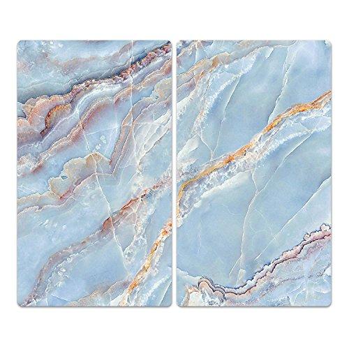 Braun Marmor-glas (DekoGlas Herdabdeckplatten Set inkl. Noppen aus Glas 'Marmor-Textur', Herd Ceranfeld Abdeckung, 2-teilig universal 2X 52x30 cm)