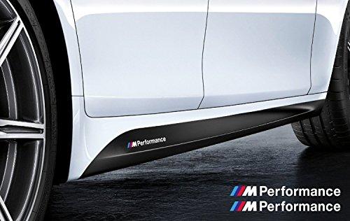 Demupai BMW M Performance - adesivo laterale, 220 cm x 11 cm, colore: nero e bianco con strisce colorate