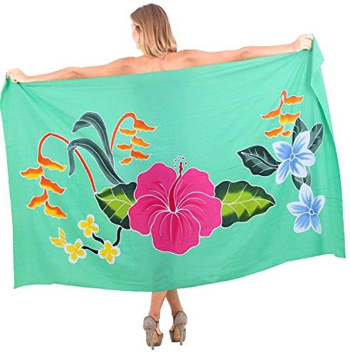 La Leela glatt Rayon Hand bemalt Hibiskus Sarong Pareo wickeln 78x43 Zoll grün (Sarong Kleid Hibiskus)
