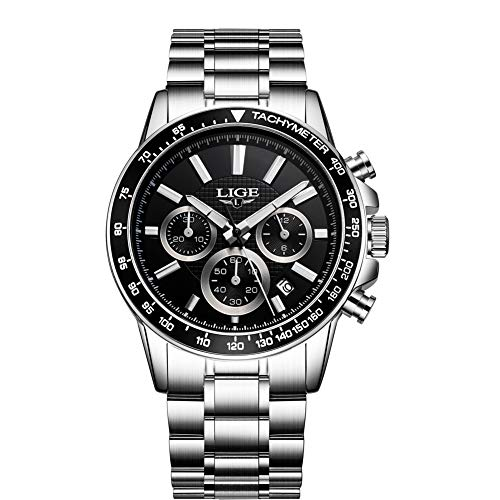 5e2d9d96e Relojes para Hombre Acero Inoxidable Impermeable Reloj Hombres Lujo Marca  LIGE Cronógrafo Cuarzo Analógico Reloj Vestido