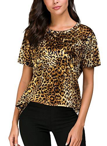 EXCHIC Camiseta de Terciopelo para Mujer Túnica con Estampado de Leopardo (M, Corto-1)