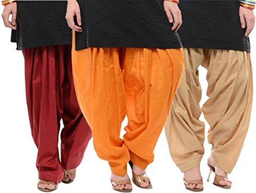 I Shop Traditional Patiala Salwar 100% Cotton Free Size (MEHRUN_ORANGE_BEIGE)