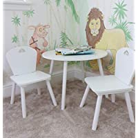 HomeZone® Kids White Wooden Round Table And Chairs Children