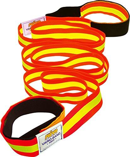 Reivo Band Medi 2 m mit Schlaufen | Das original elastische Fitnessband, Textilband, Gymnastikband, Widerstandsband | L: 2 m, dehnbar bis 4 m | Polyester-Elastan | Rot-Gelb | Markenqualität
