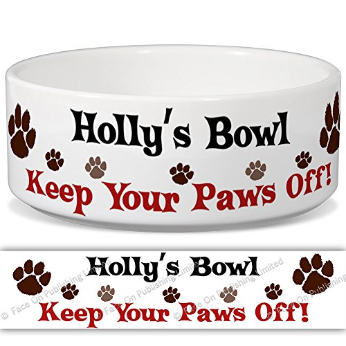 Holly 's Schüssel-Keep Your Paws Off. Personalisiert Name Keramik Pet Futternapf-2Größen erhältlich -