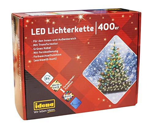 Idena 31097 - LED Lichterkette mit 400 LED, Farbwechselfunktion in warm weiß und bunt, mit 8 Stunden Timer Funktion, für Partys, Weihnachten, Deko, Hochzeit, als Stimmungslicht, ca. 44,9 m