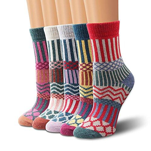 Wollesocken, Moliker Damen Socken Winter Socken 5 Paar atmungsaktiv warm weich bunte Farbe Premium Qualität klimaregulierende Wirkung (5006)