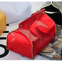 BKPH Almacenamiento de la Toalla de Papel de la Bandeja de la Caja del Tejido Simple de la Tabla del Cuero casero Fresco, Red