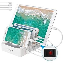 allcaca Station de Charge avec commutateur Chargeur USB Multiples 4 Ports Chargeur USB Support de Charge pour Apple iPhone iPad Samsung Smartphones Tablettes, 4 Cables Inclus, Blanc