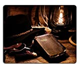 MSD Natural Rubber Gaming Mousepad IMAGE ID: 13360136 American West rodeo cowboy antique old and worn Holy Bible Christian prayer religious book with traditional ranching gear and authentic western ha