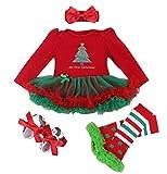 FEOYA - (juego de 4)Vestido Traje de Navidad Tutú para Recién nacidos Bebés Niñas con Mangas Largas Venda de Pelo y Calcetines Zapatos para Fiesta Ceremonia - Navidad Rojo - S(0-3Meses)