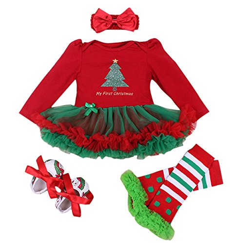 FEOYA - (juego de 4)Traje de Navidad Tutú de Tutú Recién Nacidos Bebés Niñas Pijama Falda con Mangas Largas Venda de Pelo y Calcetines Zapatos para Fiesta Ceremonia - Navidad Rojo - L(6-12Meses)