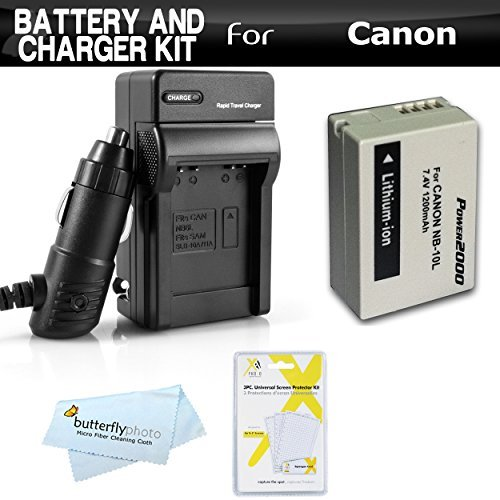 Battery And Charger Kit For Canon PowerShot SX40 HS SX40HS G1 X G1X SX50 HS SX50HS Powershot G15 Canon PowerShot G16 Digital Camera Includes Extended Replacement (1200Mah) NB-10L Battery + AC/DC Travel Charger + Screen Protectors + MicroFiber Cloth