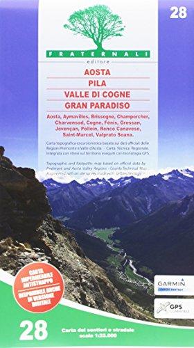 Carta n. 28. Aosta, Pila, Valle di Cogne, Gran Paradiso 1:25.000 por aavv