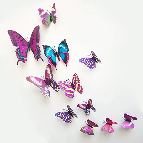 Confezione di adesivi da parete a forma di farfalla 3D, 12 pezzi, colore: Viola