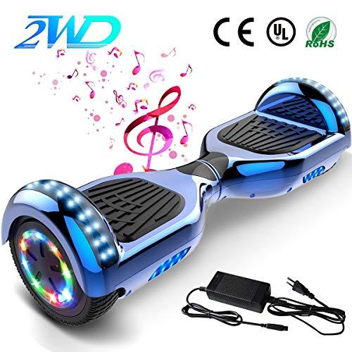 """2WD Hoverboard 8\'\' ElektroScooter Rad-selbstausgleichender Roller Zwei mit Bluetooth und. LED-Licht-elektrischem Roller 8\""""- UL bestätigte 2 * 350W (weiß-Blau)"""